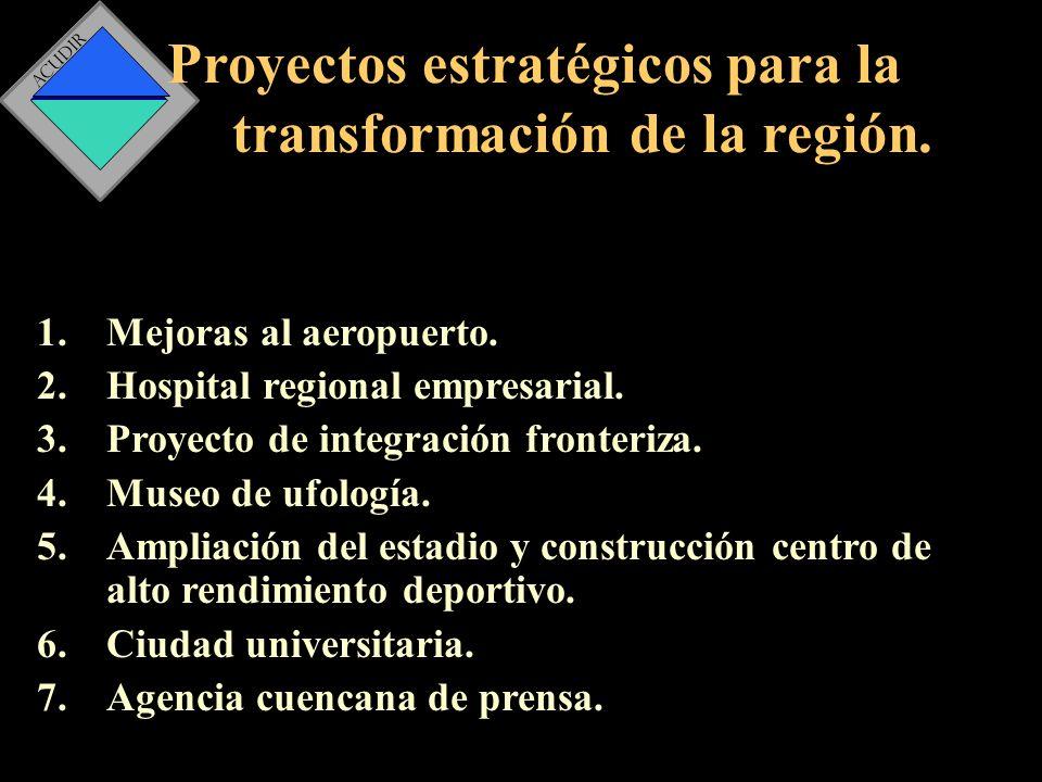 Proyectos estratégicos para la transformación de la región.