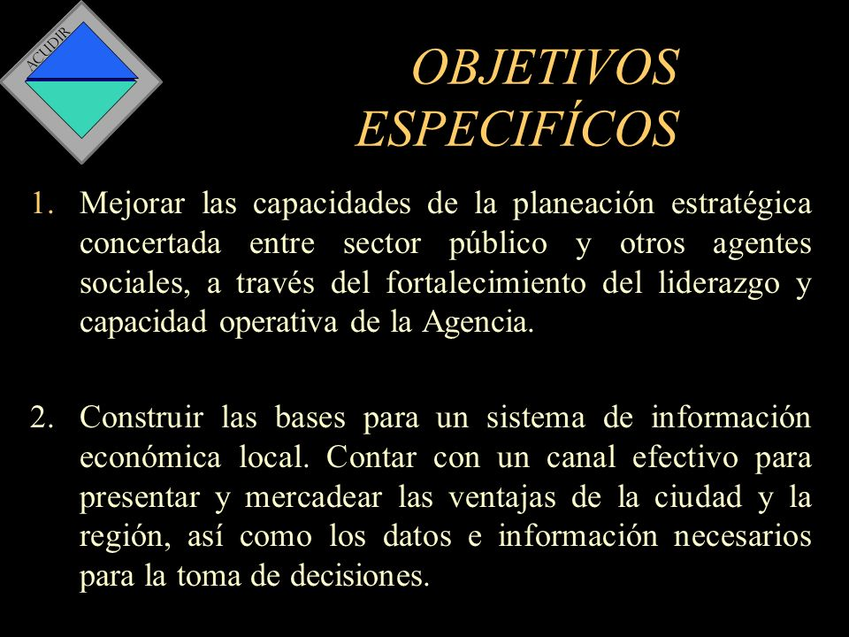 OBJETIVOS ESPECIFÍCOS