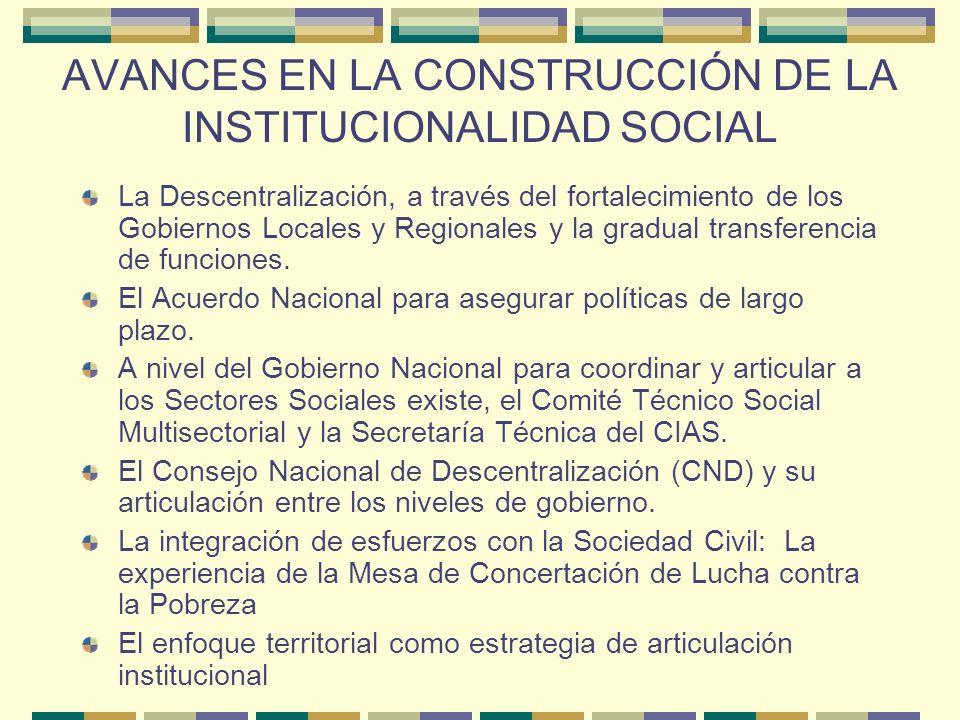 AVANCES EN LA CONSTRUCCIÓN DE LA INSTITUCIONALIDAD SOCIAL
