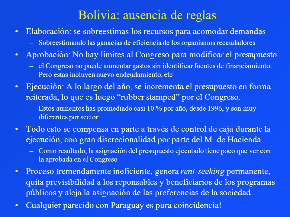 Bolivia: ausencia de reglas