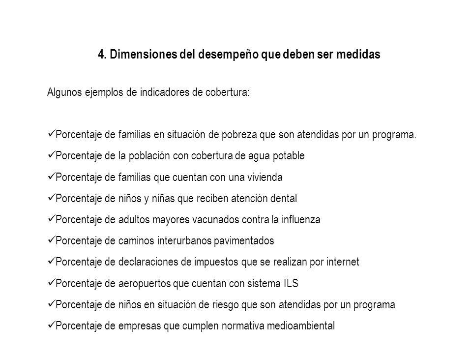 4. Dimensiones del desempeño que deben ser medidas