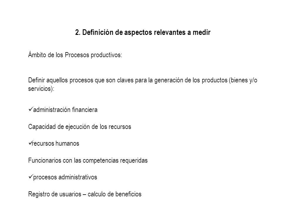 2. Definición de aspectos relevantes a medir