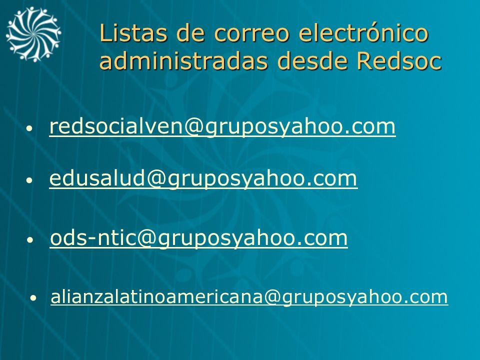 Listas de correo electrónico administradas desde Redsoc