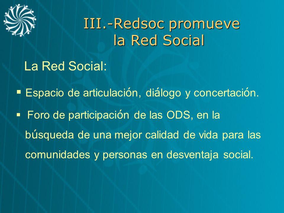 III.-Redsoc promueve la Red Social