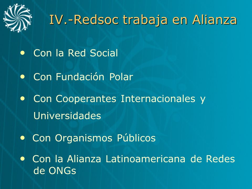 IV.-Redsoc trabaja en Alianza