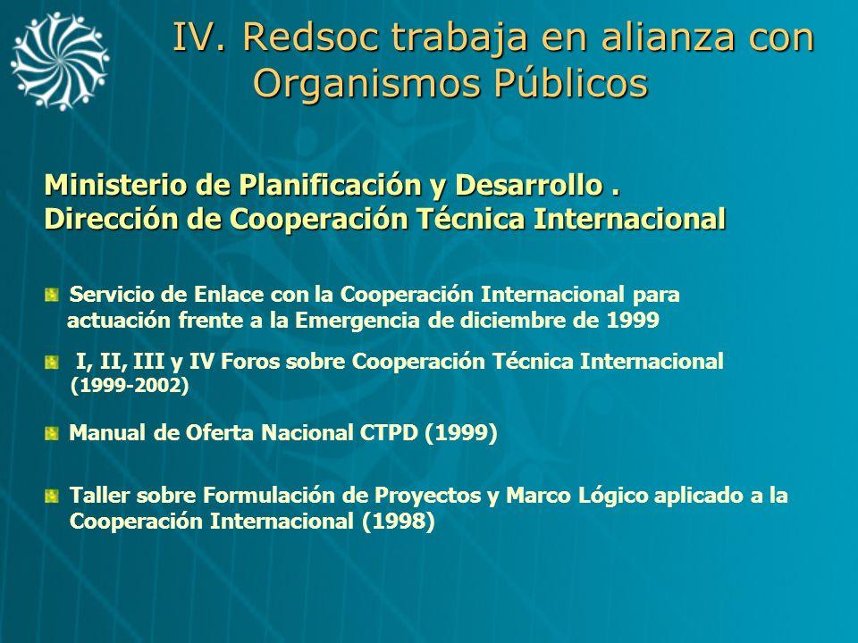IV. Redsoc trabaja en alianza con Organismos Públicos