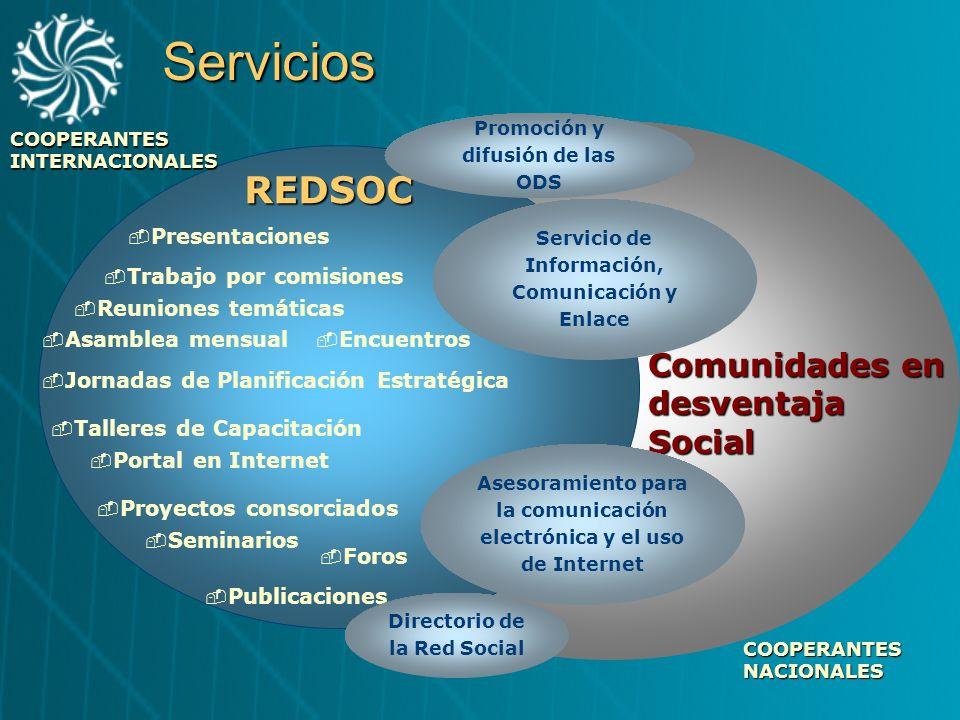 Servicios REDSOC Comunidades en desventaja Social Presentaciones