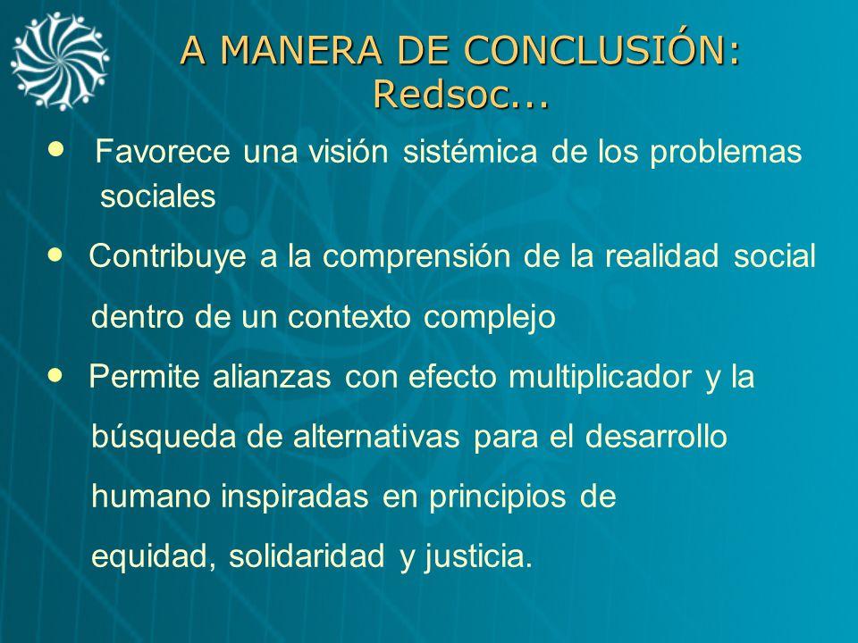 A MANERA DE CONCLUSIÓN: Redsoc...