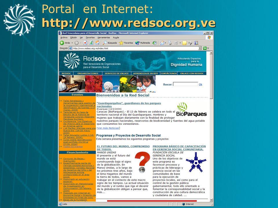 Portal en Internet: http://www.redsoc.org.ve