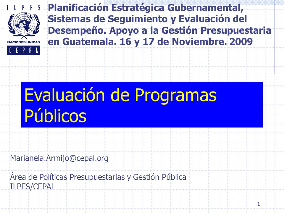 Evaluación de Programas Públicos