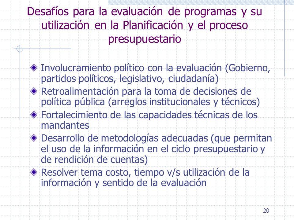 Desafíos para la evaluación de programas y su utilización en la Planificación y el proceso presupuestario