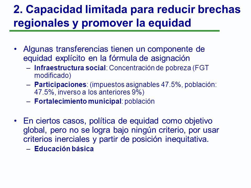 2. Capacidad limitada para reducir brechas regionales y promover la equidad