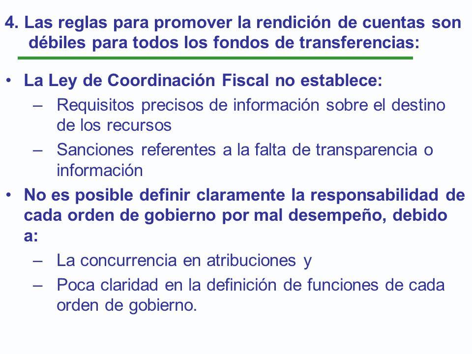 4. Las reglas para promover la rendición de cuentas son débiles para todos los fondos de transferencias: