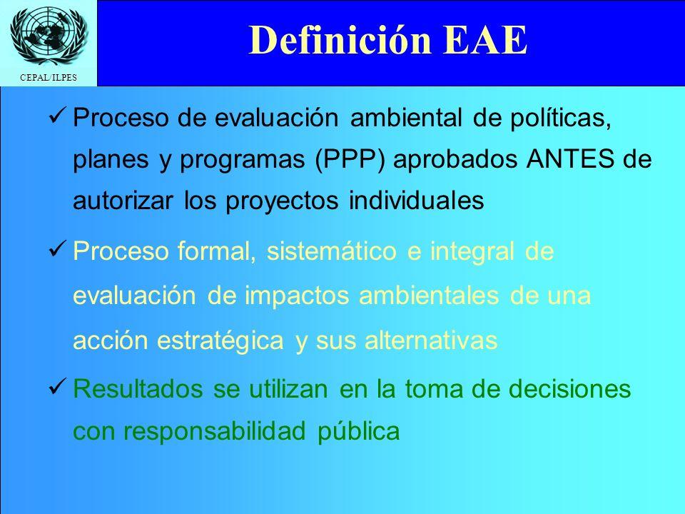 Definición EAEProceso de evaluación ambiental de políticas, planes y programas (PPP) aprobados ANTES de autorizar los proyectos individuales.