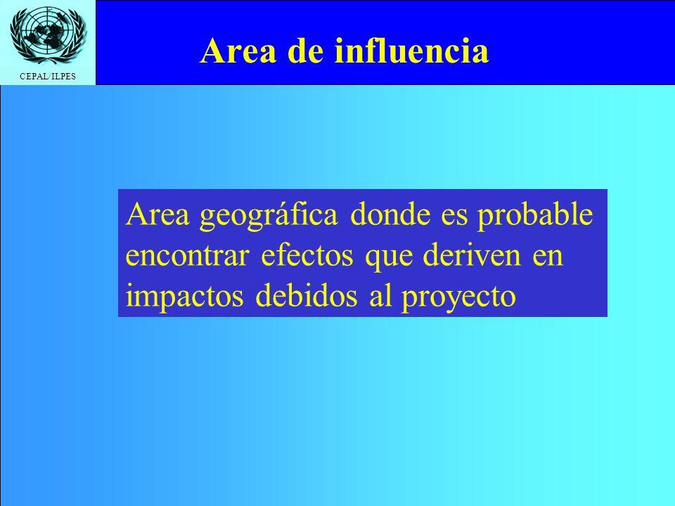 Area de influencia Area geográfica donde es probable encontrar efectos que deriven en impactos debidos al proyecto.