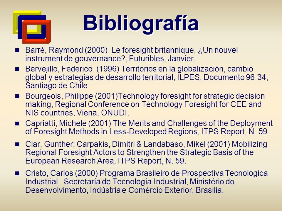 Bibliografía Barré, Raymond (2000) Le foresight britannique. ¿Un nouvel instrument de gouvernance , Futuribles, Janvier.