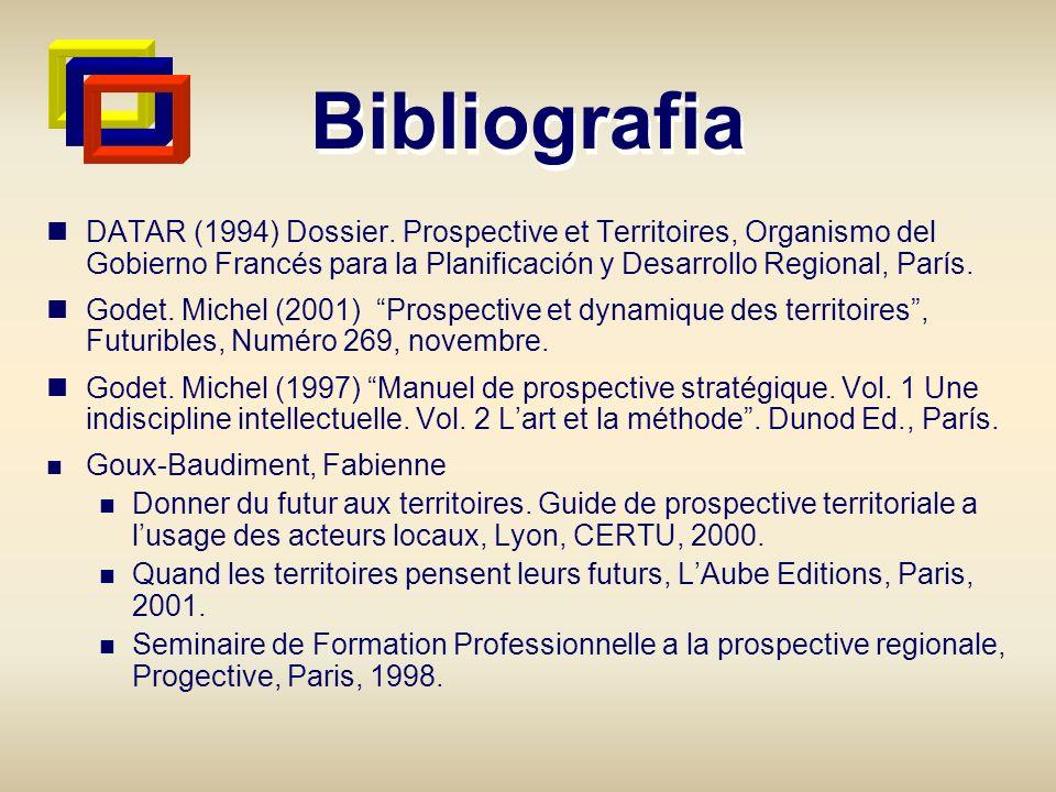 Bibliografia DATAR (1994) Dossier. Prospective et Territoires, Organismo del Gobierno Francés para la Planificación y Desarrollo Regional, París.