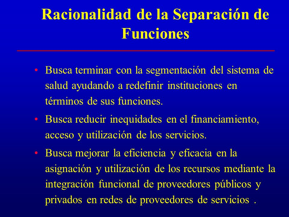 Racionalidad de la Separación de Funciones