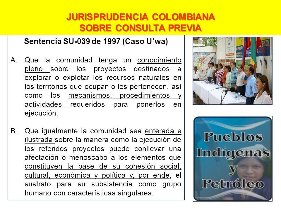 JURISPRUDENCIA COLOMBIANA Sentencia SU-039 de 1997 (Caso U'wa)