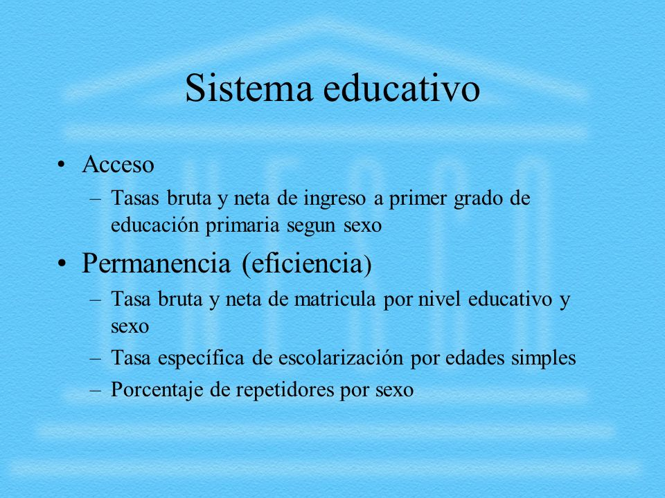Sistema educativo Permanencia (eficiencia) Acceso