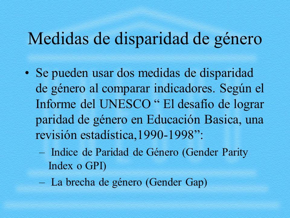 Medidas de disparidad de género