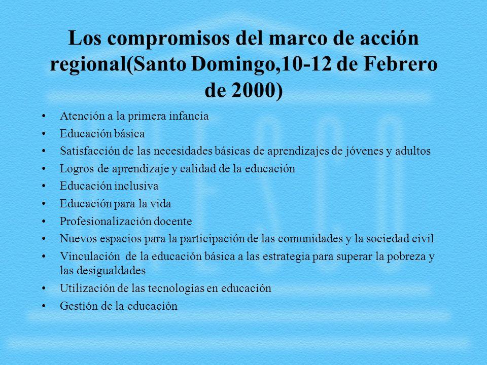 Los compromisos del marco de acción regional(Santo Domingo,10-12 de Febrero de 2000)