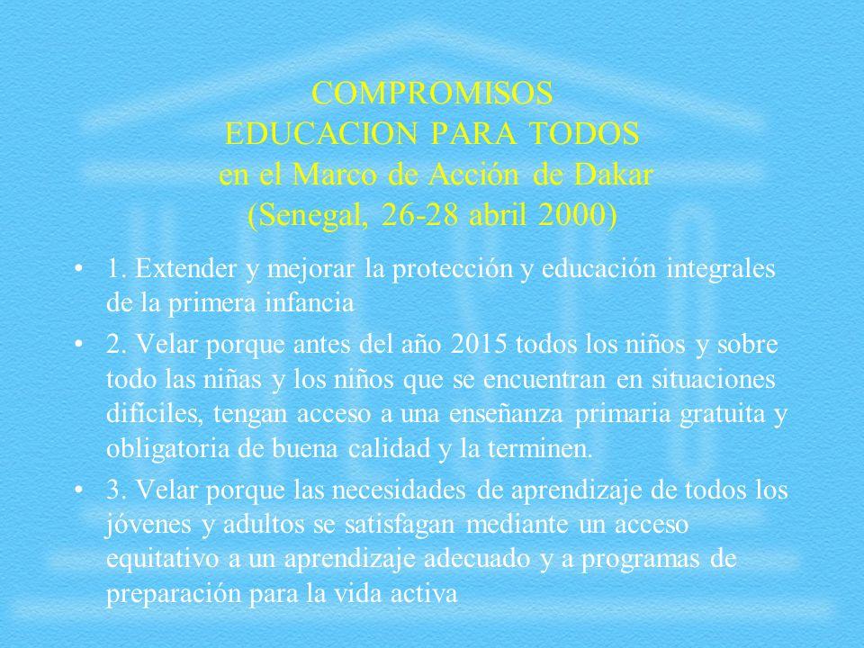 COMPROMISOS EDUCACION PARA TODOS en el Marco de Acción de Dakar (Senegal, 26-28 abril 2000)