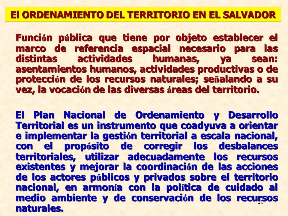 El ORDENAMIENTO DEL TERRITORIO EN EL SALVADOR