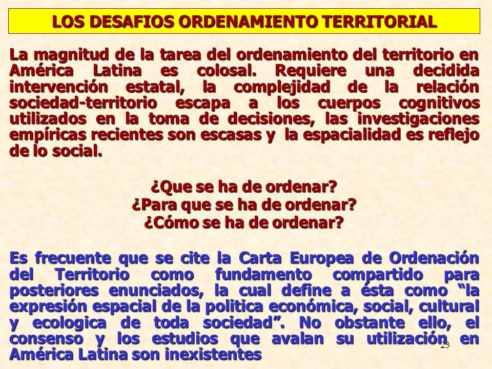 LOS DESAFIOS ORDENAMIENTO TERRITORIAL ¿Para que se ha de ordenar