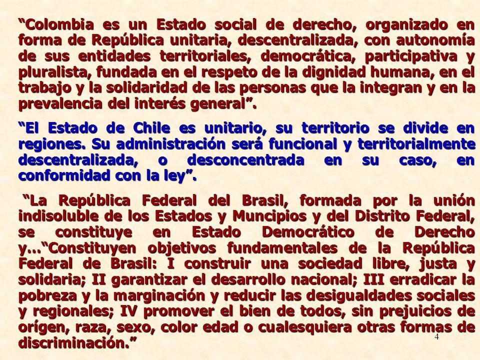 Colombia es un Estado social de derecho, organizado en forma de República unitaria, descentralizada, con autonomía de sus entidades territoriales, democrática, participativa y pluralista, fundada en el respeto de la dignidad humana, en el trabajo y la solidaridad de las personas que la integran y en la prevalencia del interés general .