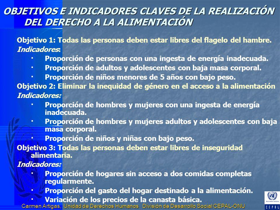 OBJETIVOS E INDICADORES CLAVES DE LA REALIZACIÓN DEL DERECHO A LA ALIMENTACIÓN