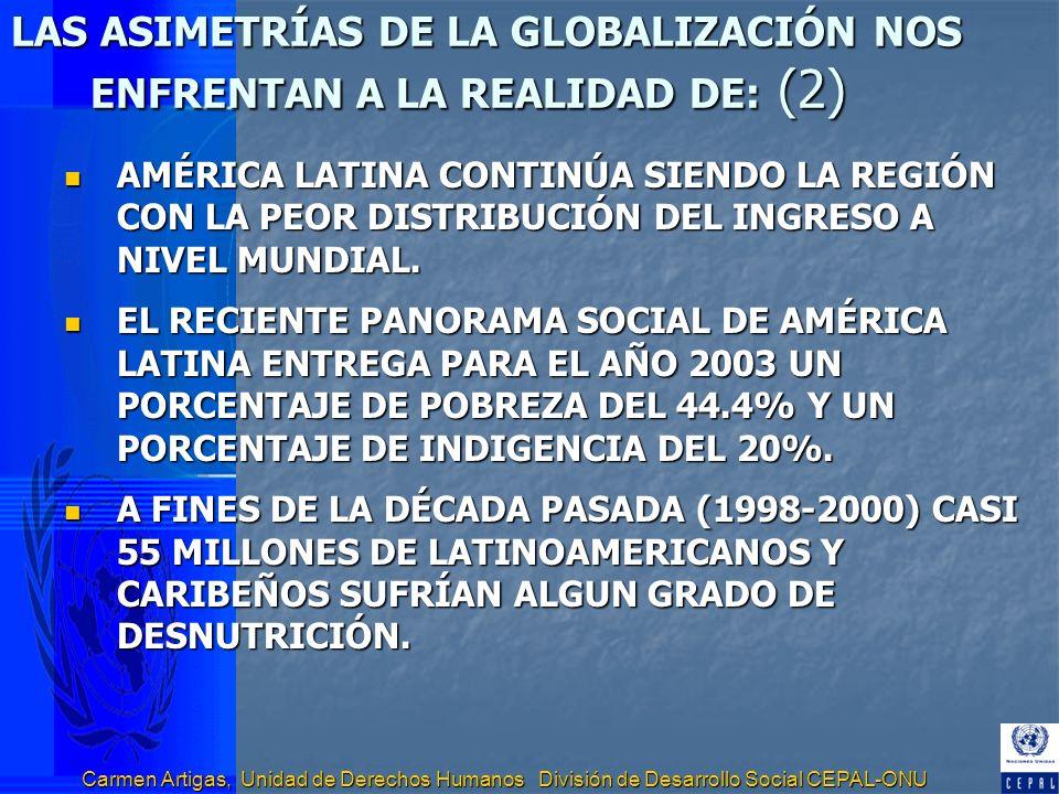 LAS ASIMETRÍAS DE LA GLOBALIZACIÓN NOS ENFRENTAN A LA REALIDAD DE: (2)