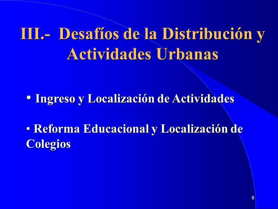 III.- Desafíos de la Distribución y Actividades Urbanas