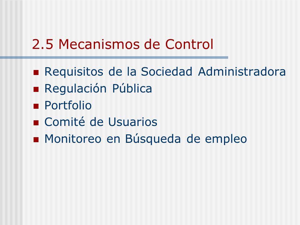 2.5 Mecanismos de Control Requisitos de la Sociedad Administradora