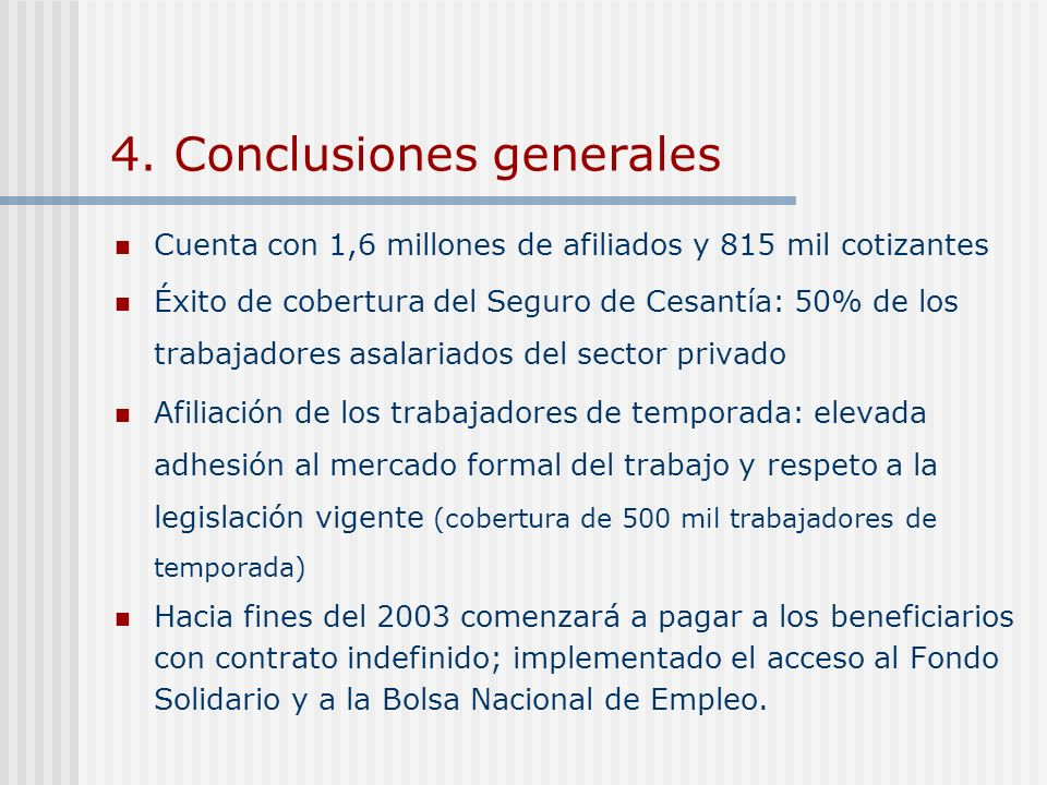 4. Conclusiones generales