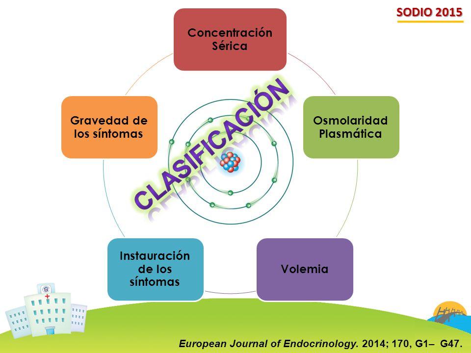 CLASIFICACIÓN SODIO 2015 Concentración Sérica Osmolaridad Plasmática