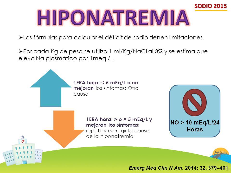 SODIO 2015 HIPONATREMIA. Las fórmulas para calcular el déficit de sodio tienen limitaciones.
