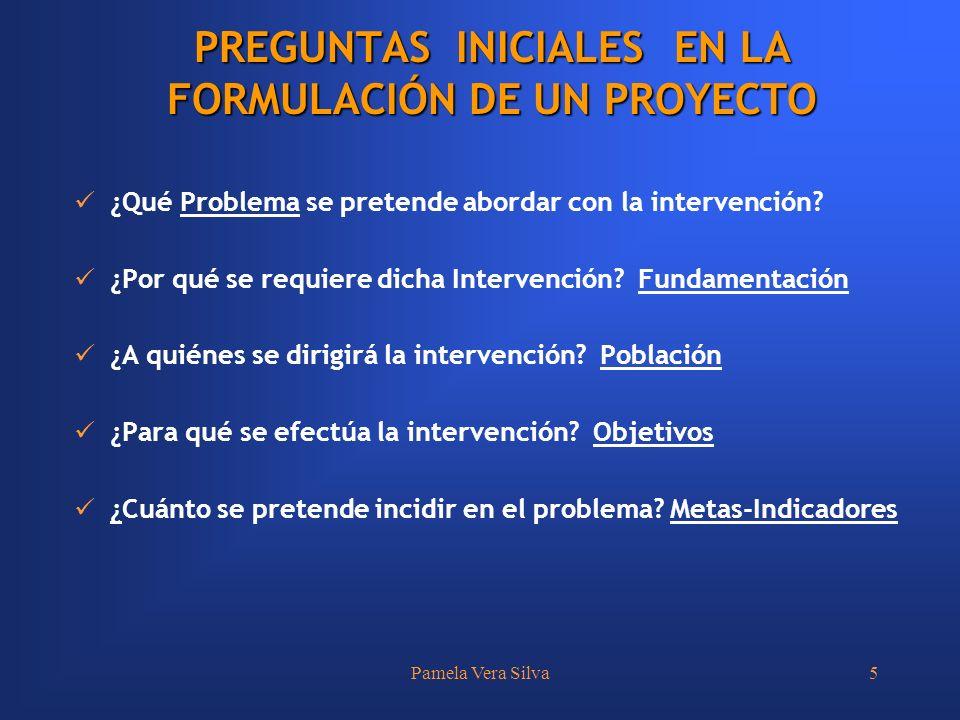PREGUNTAS INICIALES EN LA FORMULACIÓN DE UN PROYECTO