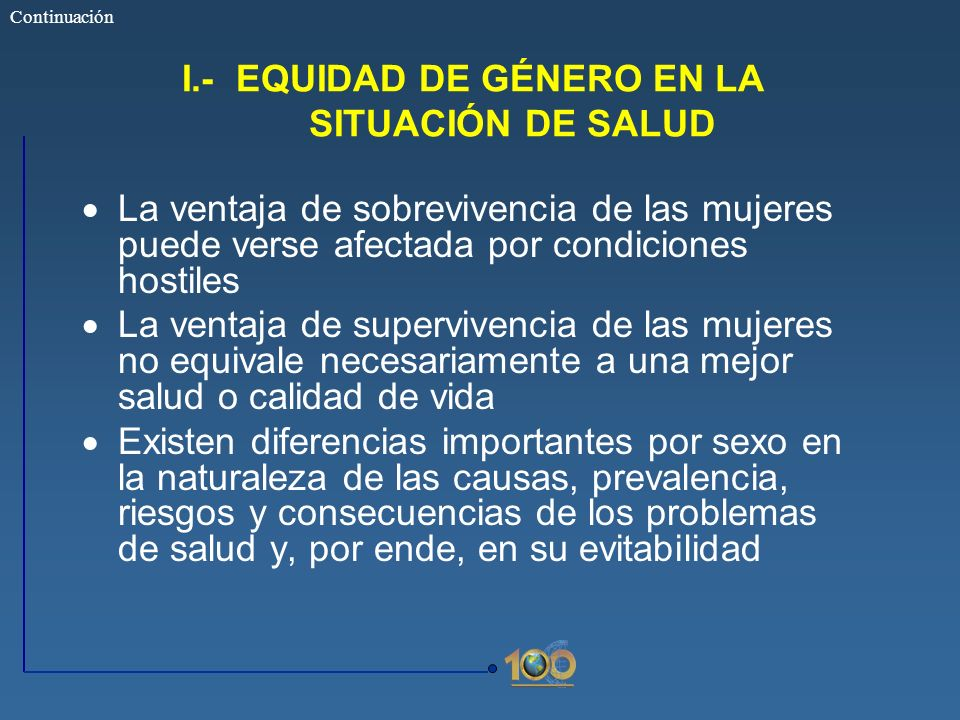 I.- EQUIDAD DE GÉNERO EN LA SITUACIÓN DE SALUD