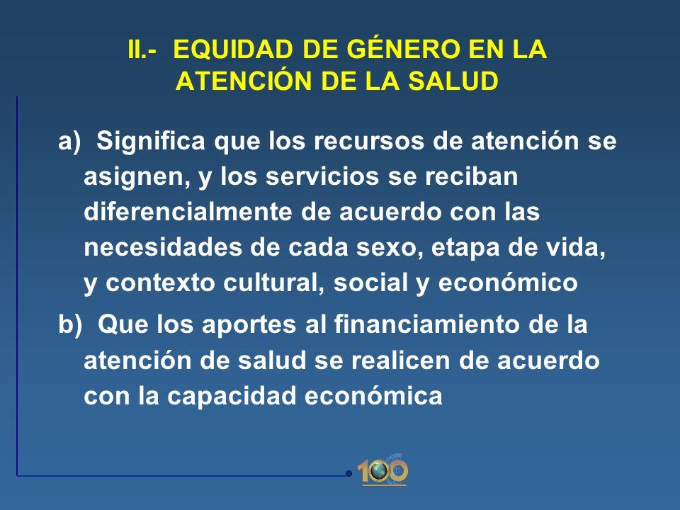 II.- EQUIDAD DE GÉNERO EN LA ATENCIÓN DE LA SALUD