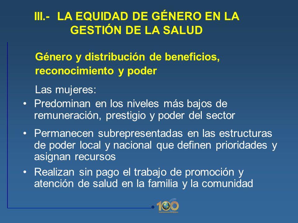 III.- LA EQUIDAD DE GÉNERO EN LA GESTIÓN DE LA SALUD