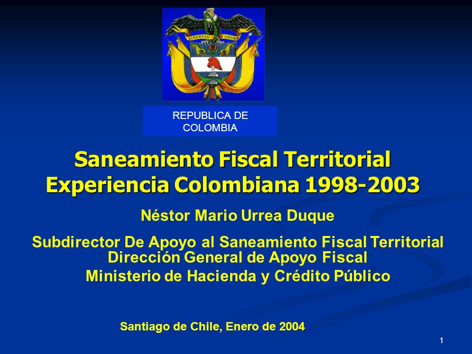 Saneamiento Fiscal Territorial Experiencia Colombiana 1998-2003