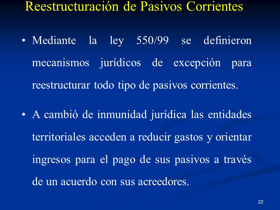 Reestructuración de Pasivos Corrientes