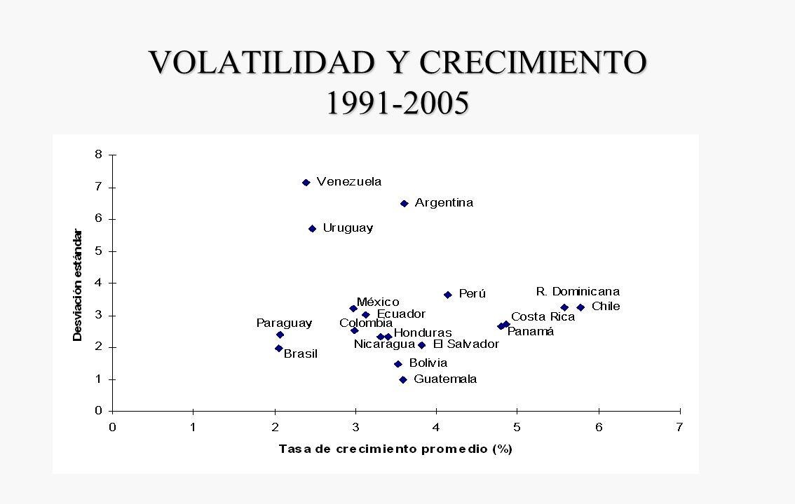 VOLATILIDAD Y CRECIMIENTO 1991-2005