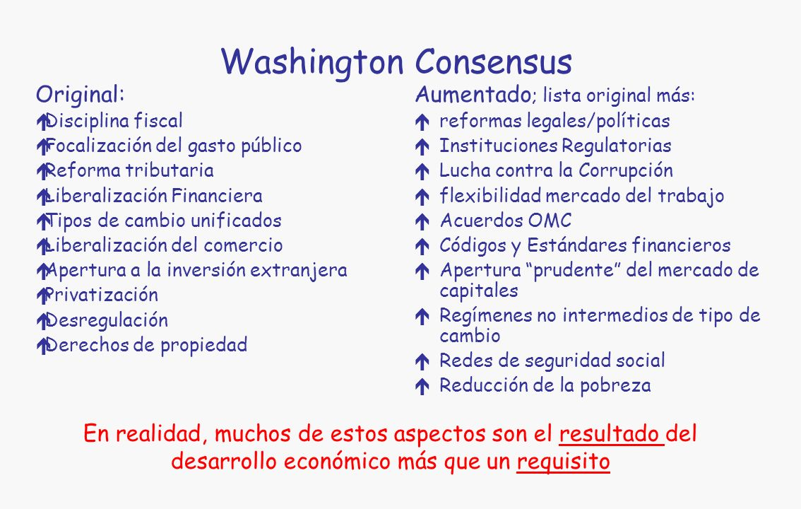 Washington Consensus Original: Aumentado; lista original más: