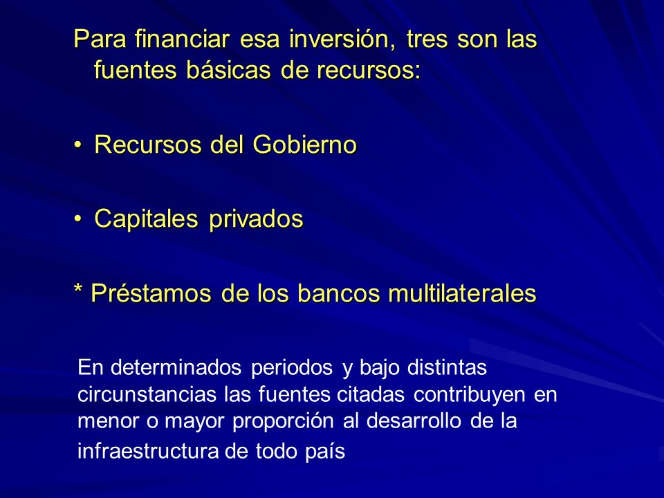 * Préstamos de los bancos multilaterales