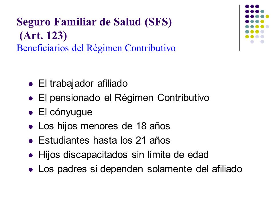 Seguro Familiar de Salud (SFS) (Art