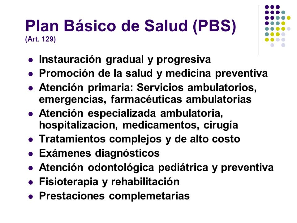 Plan Básico de Salud (PBS) (Art. 129)