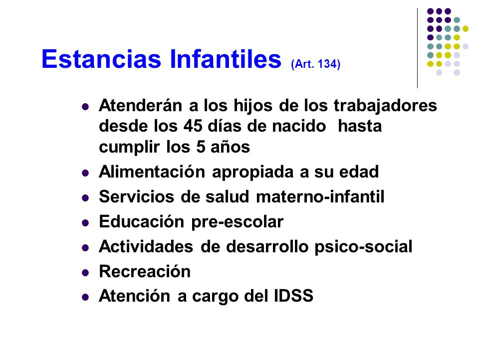Estancias Infantiles (Art. 134)