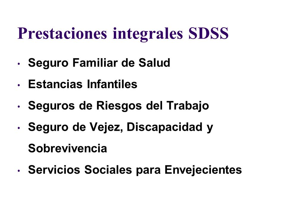 Prestaciones integrales SDSS